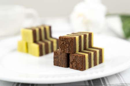 Traditional Sarawak Malaysia steamed chocolate layered cake, also known as Kek Lapis Legit 版權商用圖片