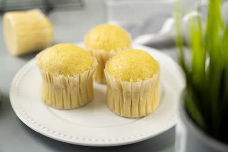 Southeast asia style steamed sponge milk muffins or cupcake