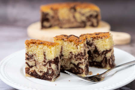 Slices of homemade marble chocolate pound cake or loaf bread
