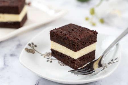 Homemade three layer steam chocolate cheese cake 版權商用圖片