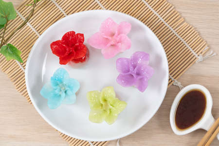 Chinese style colorful flower dumplings or dim sum