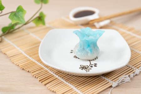 Chinese blue color flower dumpling or dim sum