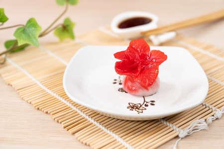 Chinese red color flower dumpling or dim sum 版權商用圖片