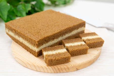 Southeast Asia three layers steamed coffee cake 版權商用圖片