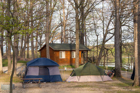 Camping and tents on the campground in the spring 版權商用圖片