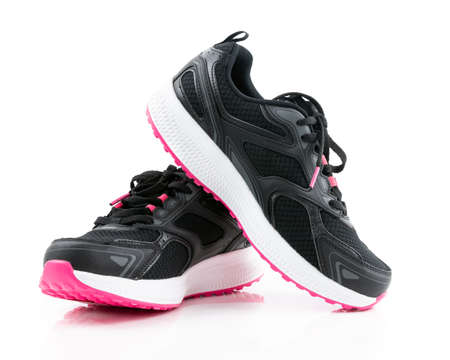 Pair of black sport shoes on white background 版權商用圖片