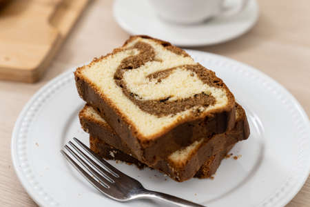 Chocolate, mocha or coffee butter pound cake 版權商用圖片