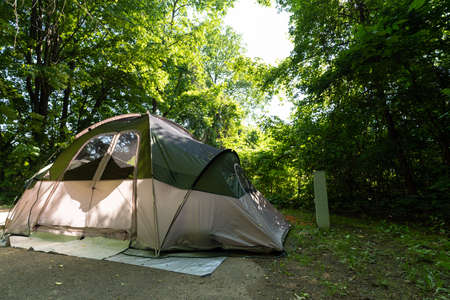 Camping tent on the campground in the spring