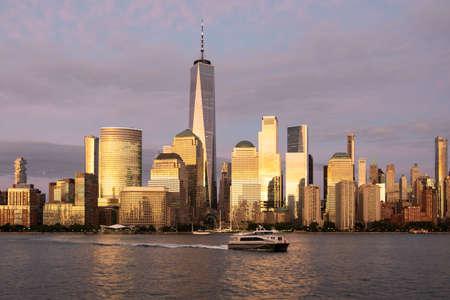 New York city lower Manhattan skyline at twilight