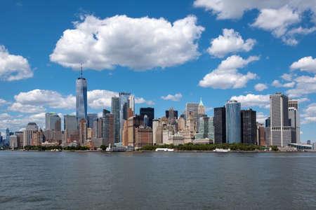 New York city lower Manhattan skyline on clear sunny day