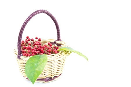 margins: This is a picture of a small red fruit with a basket  Stock Photo