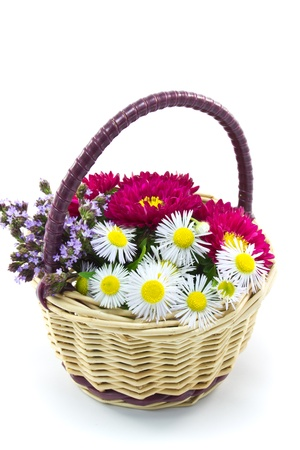flower basket: This is a picture of the flower basket made by such as wild chrysanthemum and aster