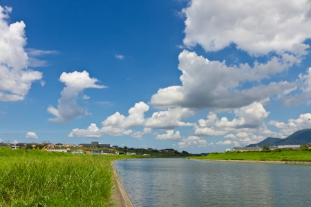 This is the landscape of the riverside of the summer I was taken in July.