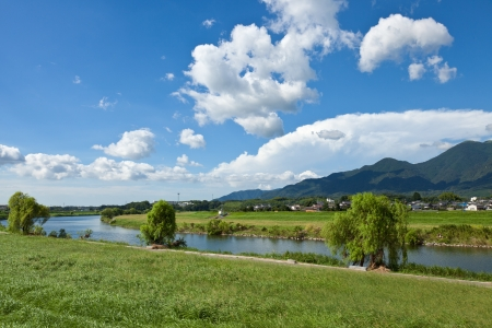 This is the landscape of the riverside of the summer I was taken in August. Stock Photo