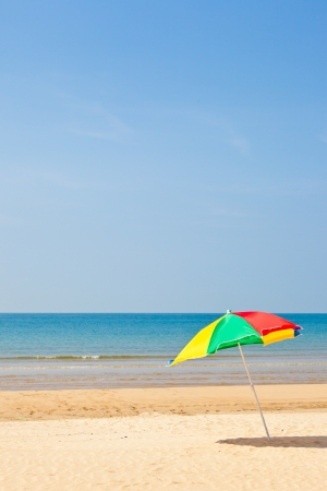 This is a picture of the sea and beach umbrellas I was taken in summer  Stock Photo