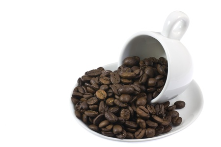 This is a picture of coffee beans and coffee cup. Stock Photo