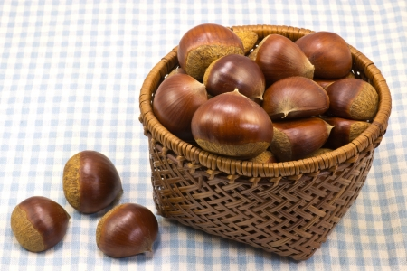 chestnut that was served in a basket  Stock Photo