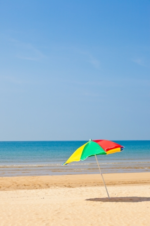 This is a picture of the sea and beach umbrellas I was taken in summer.