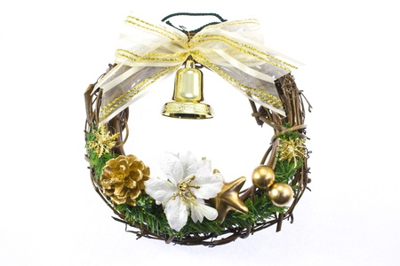 This is a photograph of a wreath decorated with Christmas. Stock Photo