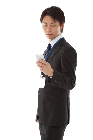 a businessman working with smartphone.