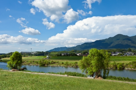 riverside landscape: This is a photo of the summer sky and the riverside landscape  Stock Photo
