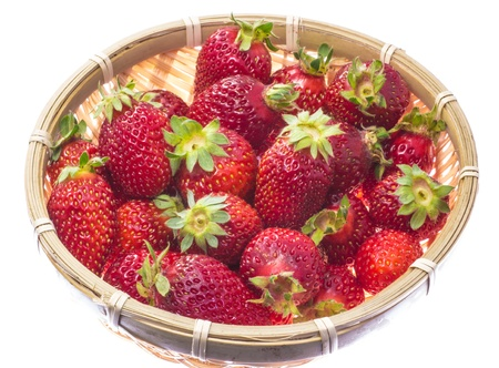This is a photo of strawberry that was served in a bamboo basket. Stock Photo - 18757638