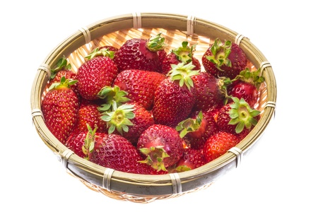 strawberry that was served in a bamboo basket. Stock Photo - 18757792