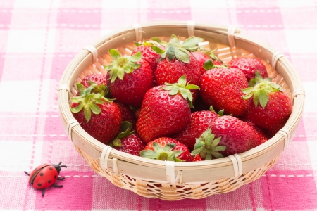 This is a photo of strawberries served in a basket. Stock Photo - 19019538