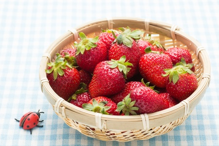 This is a photo of strawberry that was served in a bamboo basket. photo