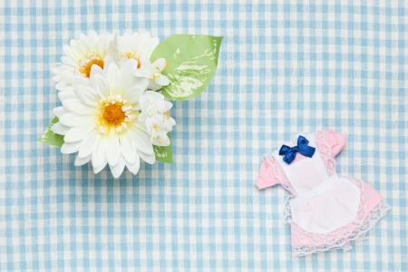 ミニチュア メイド衣装と花 写真素材 - 19354202