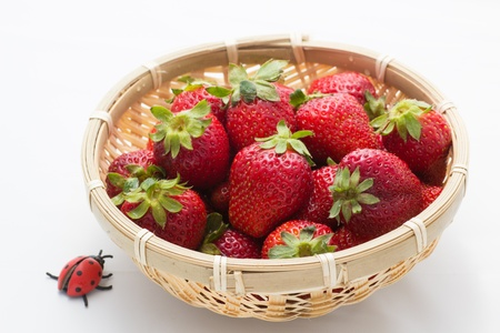 strawberry that was served in a bamboo basket Stock Photo - 19354160