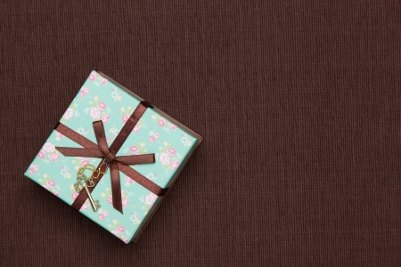 This is a photograph of a gift box of floral design. photo