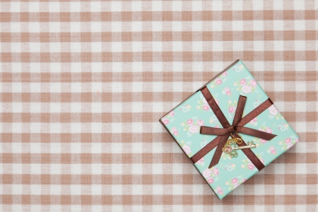 This is a photograph of a gift box of floral design. Stock Photo