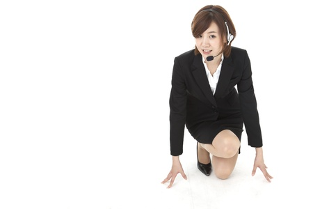 a young businesswoman with the starting line. Stock Photo - 20133758