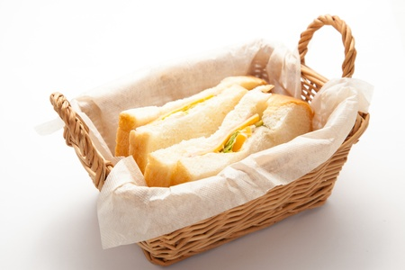 This is a photograph of the sandwiches in the basket.