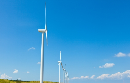 This is a photograph of a wind farm. 写真素材