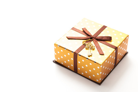 This is a photograph of a gold gift box.