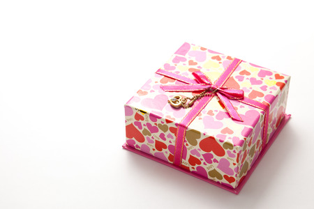 This is a photograph of a gift box of heart pattern. Stock Photo
