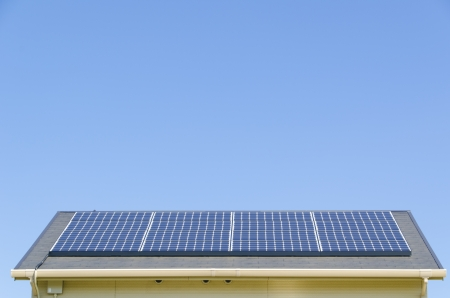 solarpanel: This is a photograph of a solar panel on the roof. Stock Photo