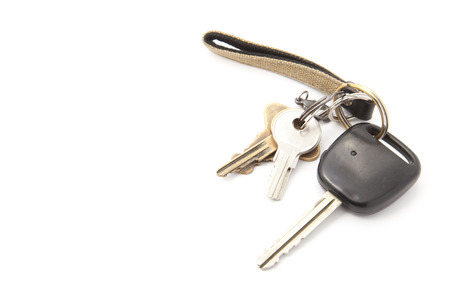 This is a photo of a key chain and keys. Stock Photo