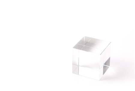 This is a paperweight of a transparent cube.