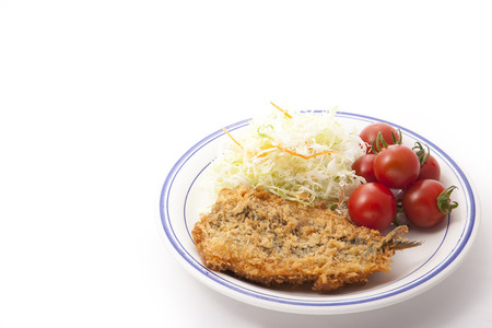 These are the vegetables and fried fish.