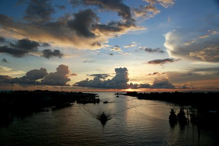 Sunset in Fishing Village Stock Photo - 1934675