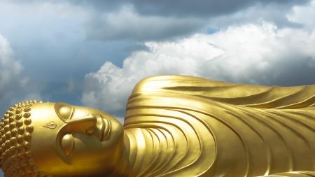 Buddha image sleeping Stock Photo