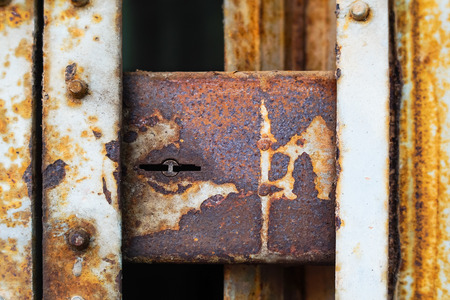 rust iron door the lock Stock Photo