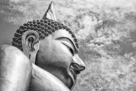 Black and White buddha statue of Thailand Stock Photo