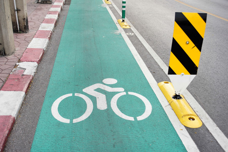 bike lane on road in the city