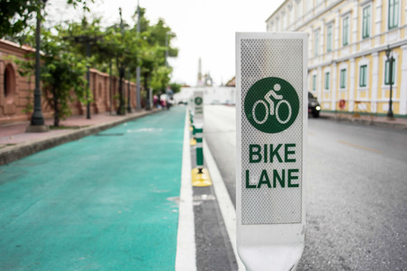 bike lane on road in the city