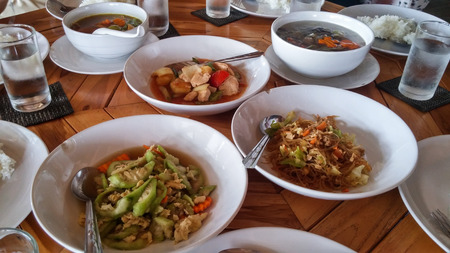 struggled: We had the first meal at 2 pm after 2-hour sitting on the boat and getting wet at Chiao Lan Dam, Thailand. We, girls, had these like we struggled for 3 days. It was buffet!