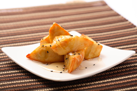 deep fry: deep fry sweet potato with honey Stock Photo